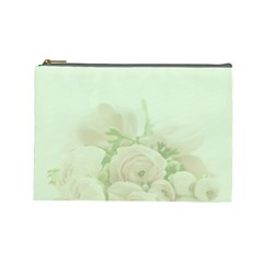 Pastel Roses Background Romantic Cosmetic Bag (large)