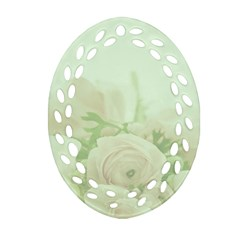 Pastel Roses Background Romantic Ornament (oval Filigree)