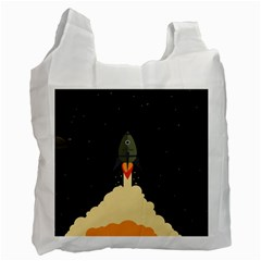 Rocket Space Stars Recycle Bag (two Side) by Nexatart