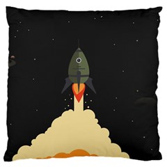 Rocket Space Stars Large Cushion Case (two Sides)