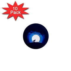 Month Full Moon Wolf Night 1  Mini Magnet (10 Pack)