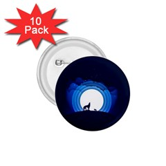 Month Full Moon Wolf Night 1 75  Buttons (10 Pack)