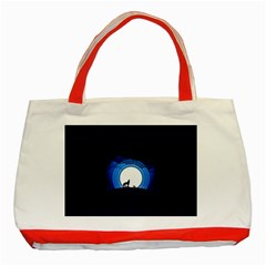 Month Full Moon Wolf Night Classic Tote Bag (red)
