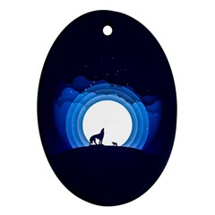 Month Full Moon Wolf Night Oval Ornament (two Sides) by Nexatart
