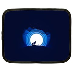 Month Full Moon Wolf Night Netbook Case (large)
