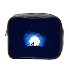 Month Full Moon Wolf Night Mini Toiletries Bag (two Sides) by Nexatart
