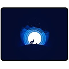 Month Full Moon Wolf Night Double Sided Fleece Blanket (medium)