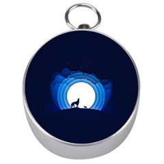 Month Full Moon Wolf Night Silver Compasses