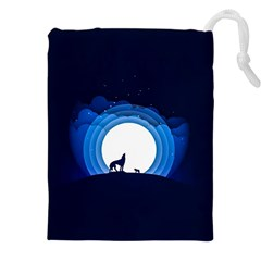 Month Full Moon Wolf Night Drawstring Pouch (xxl)