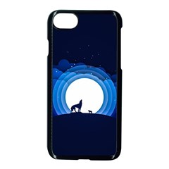 Month Full Moon Wolf Night Apple Iphone 7 Seamless Case (black) by Nexatart
