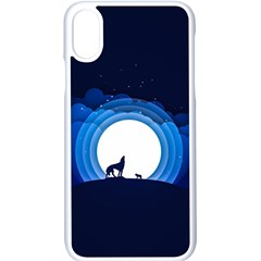 Month Full Moon Wolf Night Apple Iphone X Seamless Case (white)