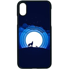 Month Full Moon Wolf Night Apple Iphone X Seamless Case (black)