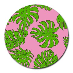 Leaves Tropical Plant Green Garden Round Mousepads by Nexatart