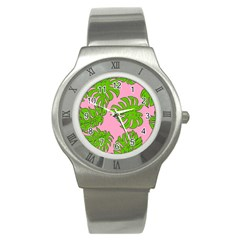 Leaves Tropical Plant Green Garden Stainless Steel Watch by Nexatart