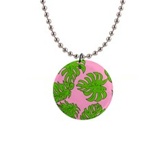 Leaves Tropical Plant Green Garden Button Necklaces