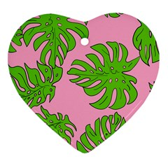 Leaves Tropical Plant Green Garden Heart Ornament (two Sides)