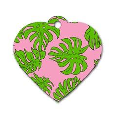 Leaves Tropical Plant Green Garden Dog Tag Heart (two Sides)