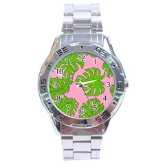 Leaves Tropical Plant Green Garden Stainless Steel Analogue Watch