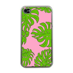 Leaves Tropical Plant Green Garden Apple Iphone 4 Case (clear) by Nexatart
