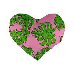 Leaves Tropical Plant Green Garden Standard 16  Premium Flano Heart Shape Cushions by Nexatart