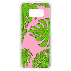 Leaves Tropical Plant Green Garden Samsung Galaxy S8 White Seamless Case by Nexatart