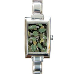 Autumn Fallen Leaves Dried Leaves Rectangle Italian Charm Watch by Nexatart