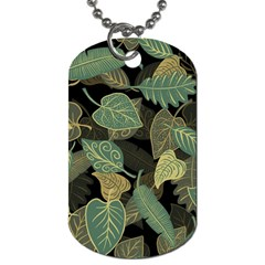 Autumn Fallen Leaves Dried Leaves Dog Tag (one Side) by Nexatart