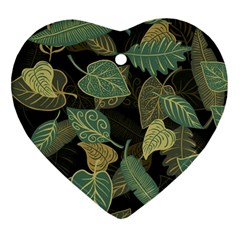 Autumn Fallen Leaves Dried Leaves Heart Ornament (two Sides)