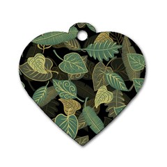 Autumn Fallen Leaves Dried Leaves Dog Tag Heart (two Sides) by Nexatart