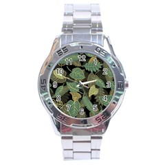 Autumn Fallen Leaves Dried Leaves Stainless Steel Analogue Watch by Nexatart