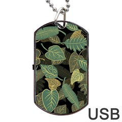 Autumn Fallen Leaves Dried Leaves Dog Tag Usb Flash (two Sides) by Nexatart