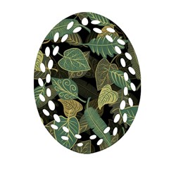 Autumn Fallen Leaves Dried Leaves Ornament (oval Filigree) by Nexatart