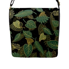 Autumn Fallen Leaves Dried Leaves Flap Closure Messenger Bag (l) by Nexatart