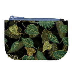 Autumn Fallen Leaves Dried Leaves Large Coin Purse