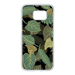 Autumn Fallen Leaves Dried Leaves Samsung Galaxy S7 Edge White Seamless Case