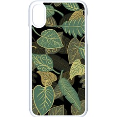 Autumn Fallen Leaves Dried Leaves Apple Iphone X Seamless Case (white)