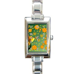 Background Design Texture Tulips Rectangle Italian Charm Watch