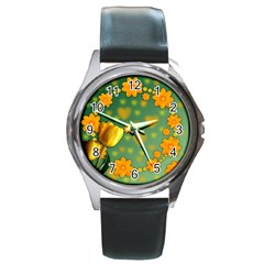Background Design Texture Tulips Round Metal Watch