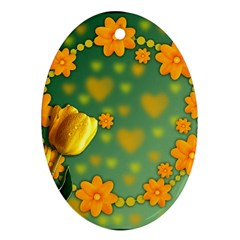 Background Design Texture Tulips Ornament (oval)