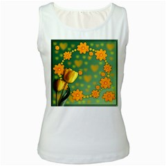 Background Design Texture Tulips Women s White Tank Top