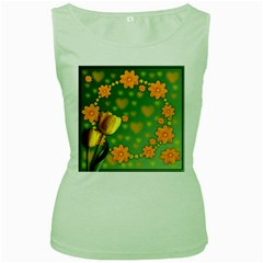 Background Design Texture Tulips Women s Green Tank Top