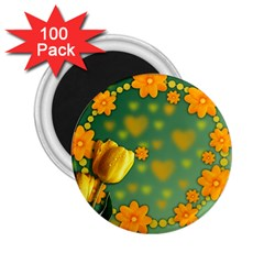 Background Design Texture Tulips 2 25  Magnets (100 Pack)