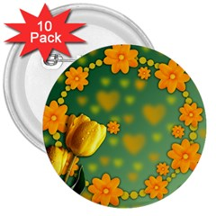 Background Design Texture Tulips 3  Buttons (10 Pack)