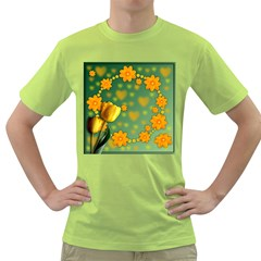Background Design Texture Tulips Green T Shirt