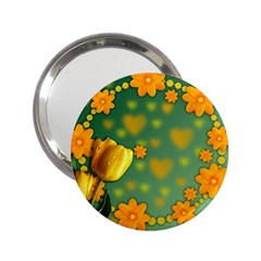 Background Design Texture Tulips 2 25  Handbag Mirrors