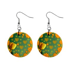 Background Design Texture Tulips Mini Button Earrings