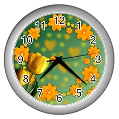 Background Design Texture Tulips Wall Clock (silver)