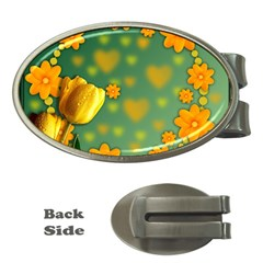 Background Design Texture Tulips Money Clips (oval)