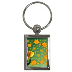 Background Design Texture Tulips Key Chains (rectangle)