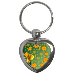 Background Design Texture Tulips Key Chains (heart)